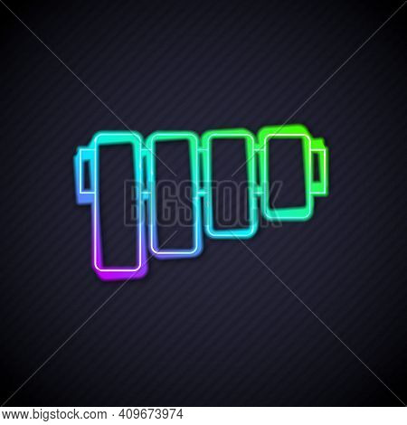 Glowing Neon Line Pan Flute Icon Isolated On Black Background. Traditional Peruvian Musical Instrume