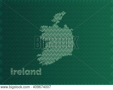 Ireland Map With Green And Gold Oriental Geometric Simple Pattern And Abstract Waves