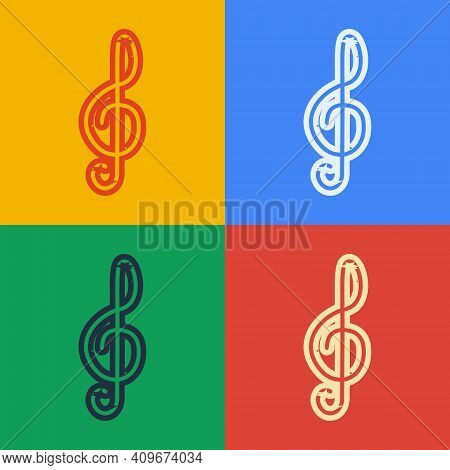 Pop Art Line Treble Clef Icon Isolated On Color Background. Vector