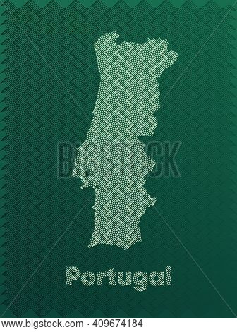 Portugal Map With Green And Gold Oriental Geometric Simple Pattern And Abstract Waves