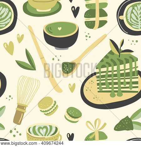 Vector Hand Drawn Matcha Illustration On Contrast Seamless Background. Cake, Macaroons, Spoon, Bambo