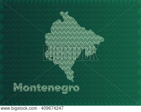 Montenegro Map With Green And Gold Oriental Geometric Simple Pattern And Abstract Waves