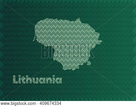 Lithuania Map With Green And Gold Oriental Geometric Simple Pattern And Abstract Waves
