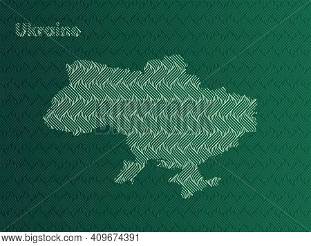 Ukraine Map With Green And Gold Oriental Geometric Simple Pattern And Abstract Waves
