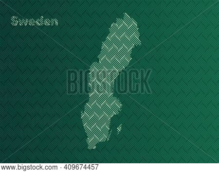 Sweden Map With Green And Gold Oriental Geometric Simple Pattern And Abstract Waves