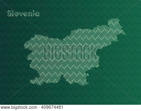 Slovenia Map With Green And Gold Oriental Geometric Simple Pattern And Abstract Waves