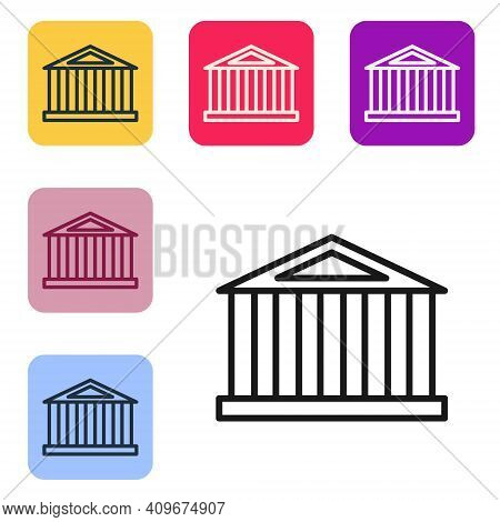 Black Line Parthenon From Athens, Acropolis, Greece Icon Isolated On White Background. Greek Ancient