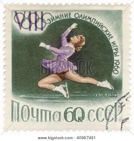 Figure Skater Performance On Post Stamp