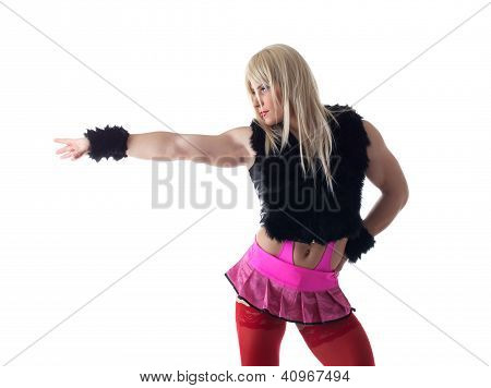 Portrait of transvestite in white wig posing. Isolated on white poster