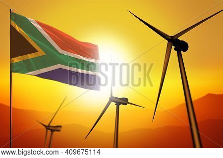 South Africa Wind Energy, Alternative Energy Environment Concept With Turbines And Flag On Sunset -