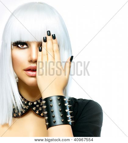 Fashion Beauty Girl. Punk Style Woman isolated on White Background. White Hair and Black Nails. Black Leather metal goth punk bracelet with Chrome Studs poster