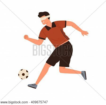 Disabled Athlete, Blind Male Soccer Running Kicking Ball Vector Flat Illustration. Sportsman Footbal