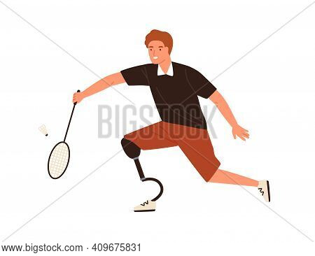 Male Athlete Playing Badminton Vector Flat Illustration. Disabled Man With Prosthetic Leg Holding Ra