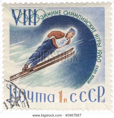 Ski Jumper On Post Stamp