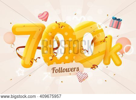 700k Or 700000 Followers Thank You Pink Heart, Golden Confetti And Neon Signs. Social Network Friend