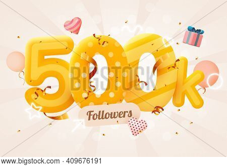 500k Or 500000 Followers Thank You Pink Heart, Golden Confetti And Neon Signs. Social Network Friend