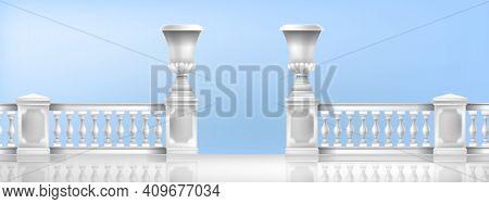 Classic Balustrade, Vector Marble Greek Mediterranean Vases, Terrace Balcony White Handrails Illustr