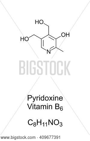 Pyridoxine, Vitamin B6, Chemical Formula And Skeletal Structure. A Form Of Vitamin B6, Found In Food