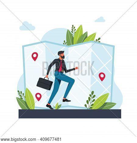Man Runs Towards Geolocation. Man Runs Route On A Map.gps Navigation Service Application. Maps, Get