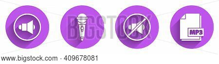 Set Speaker Volume, Microphone, Speaker Mute And Mp3 File Document Icon With Long Shadow. Vector