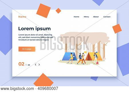 Young People At Campsite In Wood Vector Illustration. Picnic, Outdoor Weekend, Festival. Tourism Con