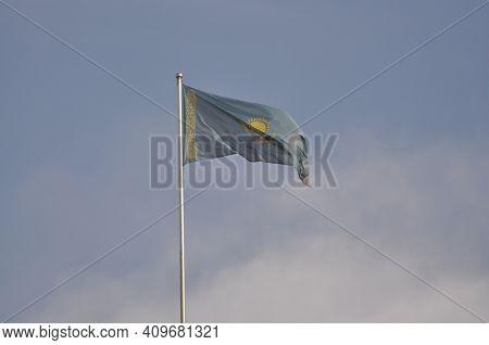 The Flag Of Kazakhstan. Symbol Of The Republic Of Kazakhstan. The Simfolica Of Kazakhstan
