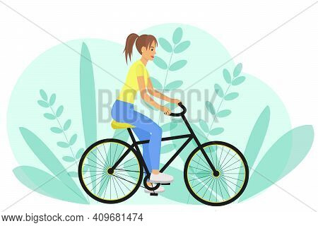 The Girl Rides A Bike. Vector. Side View, Woman Riding A Bike. Do Sport. Rest At Nature. Cartoon Con