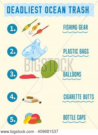 Top Debris Items Found In The Ocean Infographics. Different Waste Polluting The Sea And Beach. Portr