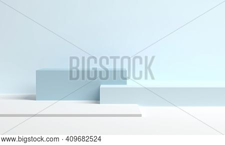 Stage For Product In Podium Platform. Blue Cubes In A Minimal Style. 3d Rendering