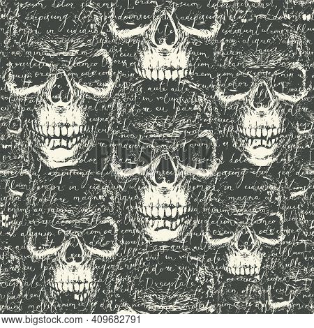 Vector Seamless Pattern With Handwritten Text Lorem Ipsum On A Background With Ominous Human Skulls