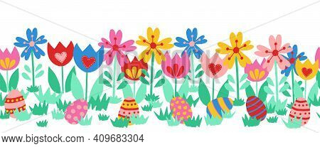 Seamless Vector Border Easter Eggs. Cute Hand Drawn Easter Egg Repeating Pattern Between Flowers. Fl