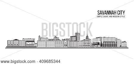 Cityscape Building Abstract Simple Shape And Modern Style Art Vector Design - Savannah City