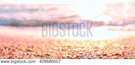 Abstract Blurred Background Of Summer Sea Shore In Morning Sunlight. Banner. Copy Space. Summer Vaca