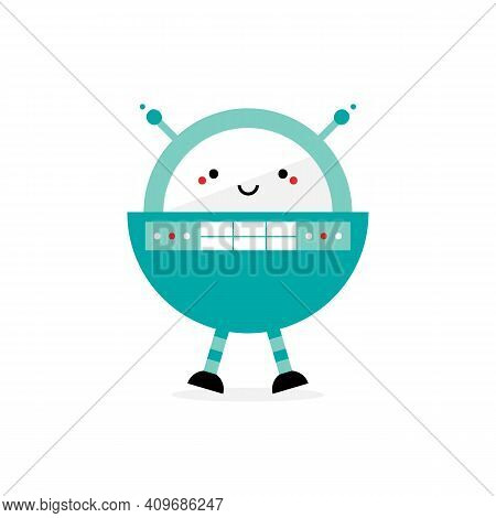 Cute Cartoon Style Rounded Spaceman Robot Character, Toy With Antennas And Buttons. Vector Icon, Ill