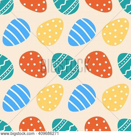 Colorful Decorated Easter Eggs In Cartoon Style Vector Seamless Pattern Background.