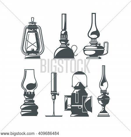 Set Of Old Oil Lamps, Vintage Kerosene Or Oil Lanterns, Home And Trackwalker Lamps Collection, Vecto