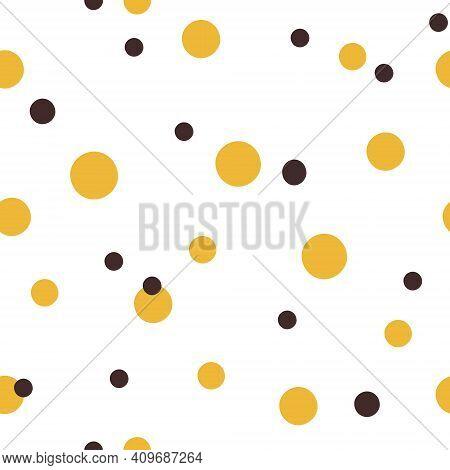 Abstract Bee Kids Seamless Pattern, Polka Dot Black And Yellow Cute Digital Paper, Cartoon Nursery S