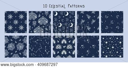 Celestial Black And White Moon, Rainbow, Stars Seamless Pattern Bundle - Hand Drawn Line Space Digit
