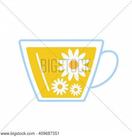 Chamomile Herbal Tea In Glass Cup. Teacup And Flovers Camomile Relax Herb Drink. Vector Flat Illustr