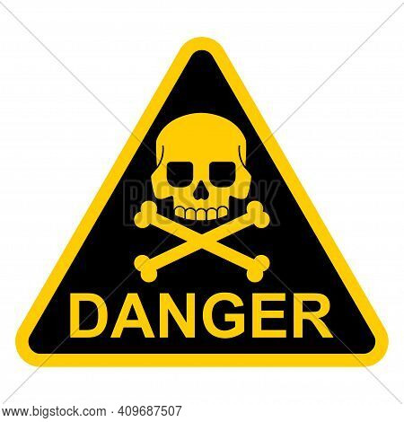Danger Sign With Skull And Crossbones Vector Flat Icon Isolated On White Background.