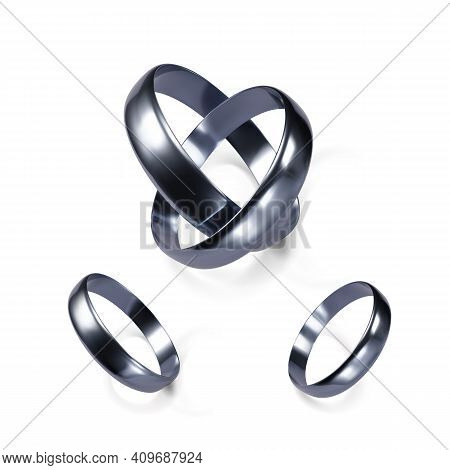 Couple Of White Gold Wedding Rings. Platinum Jewelry Object. Pair Of Engagement Rings. Vector Illust