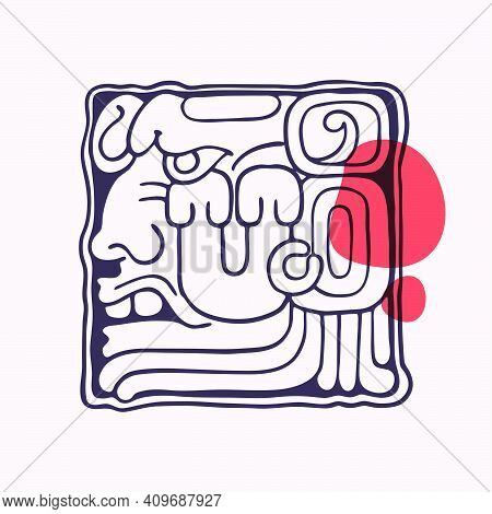 Aztec Style Letter U Initial. Native American Font With Warrior Or God Face. You Can Use It In Histo