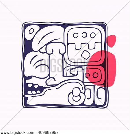 Aztec Style Letter L Initial. Native American Font With Warrior Or God Face. You Can Use It In Histo