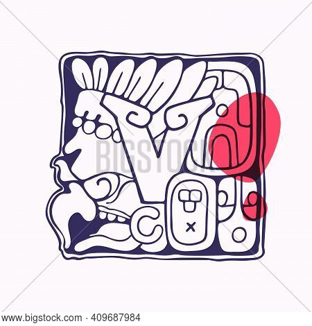 Aztec Style Letter V Initial. Native American Font With Vulture Or Eagle Face. You Can Use It In His