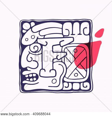 Aztec Style Letter F Initial. Native American Font With Warrior Or God Face. You Can Use It In Histo