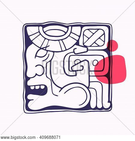 Aztec Style Letter G Initial. Native American Font With Warrior Or Conqueror Face. You Can Use It In