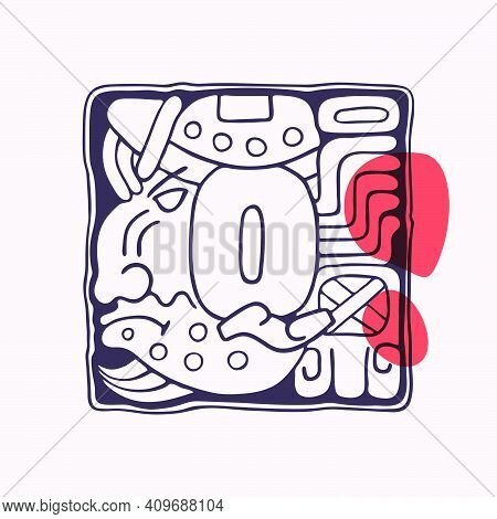 Aztec Style Letter Q Initial. Native American Font With Warrior Or God Face. You Can Use It In Histo