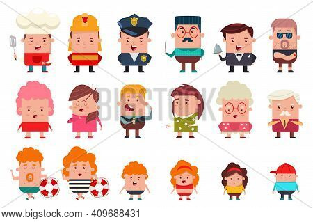People Of Different Occupations And Ages: Cook, Fireman, Policeman, Teacher, Waiter, Grandfather, Gr