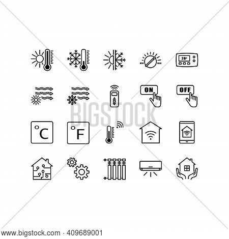 Climate Control Icon Set. Heating, Ventilating And Air Conditioning Symbols. Outline Set Of Climate