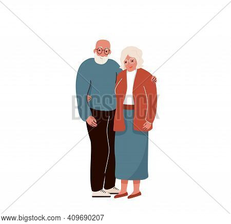 Older Couple Hug Each Other. Vector Background. Senior People Family Isolated On White Backdrop.